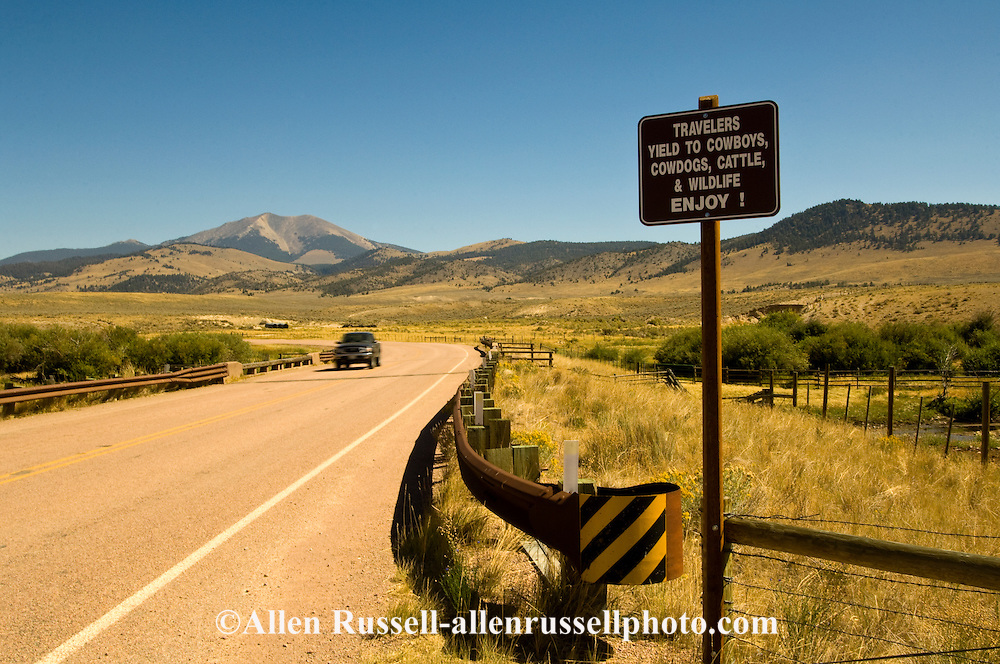 Travelers, Yield to Cowboys, Cowdogs, Cattle and Wildlife, Enjoy, Pioneer Mountains Scenic Byway, SW Montana