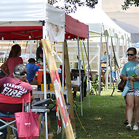 Danielle Thompson walks with her son Mitchell, 2, past all the different tents set up at New Albany's Freedom Fest Saturday
