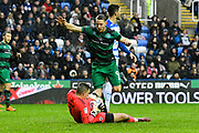 Vito Mannone (1) of Reading makes a save as Conor Washington (9) of Queens Park Rangers runs towards him during the EFL Sky Bet Championship match between Reading and Queens Park Rangers at the Madejski Stadium, Reading, England on 30 March 2018. Picture by Graham Hunt.