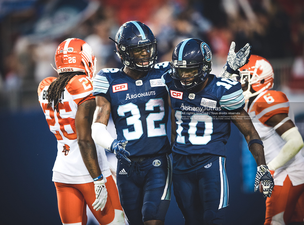 James Wilder Jr. (32) and Armanti Edwards (10) of the Toronto Argonauts during the game against the BC Lions at BMO Field in Toronto, On., Friday, June 29, 2017. (Photo: Johany Jutras)