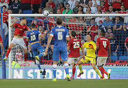 Tomer Hemed ( L ) of Brighton & Hove Albion has a shot on target which is saved by Dorus de Vries ( 2nd R ) of Nottingham Forest  - Mandatory byline: Paul Terry/JMP - 07966386802 - 07/08/2015 - FOOTBALL - Falmer Stadium -Brighton,England - Brighton v Nottingham Forest - Sky Bet Championship