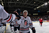 KELOWNA, CANADA - MARCH 9:  Kyrell Sopotyk #12 of the Kamloops Blazers fist bumps the bench after scoring a second period goal against the Kelowna Rockets on March 9, 2019 at Prospera Place in Kelowna, British Columbia, Canada.  (Photo by Marissa Baecker/Shoot the Breeze)