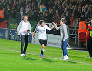 22.OCTOBER.2012. DONCASTER<br /> <br /> LOUIS TOMLINSON TAKES PART IN A CHARITY FOOTBALL MATCH WHICH SEES HIS THREE HORSE SHOES FACE A DONCASTER ROVERS XI AT THE KEEP MOAT STADIUM IN DONCASTER, WITH BANDMATES HARRY STYLES NIALL HORAN AND LIAM PAYNE CHEERING HIM ON FROM THE SIDELINES, LOUIS'S TEAM WON 2-1 WITH LOUIS SCORING ONE OF THE GOALS.<br /> <br /> BYLINE: EDBIMAGEARCHIVE.CO.UK<br /> <br /> *THIS IMAGE IS STRICTLY FOR UK NEWSPAPERS AND MAGAZINES ONLY*<br /> *FOR WORLD WIDE SALES AND WEB USE PLEASE CONTACT EDBIMAGEARCHIVE - 0208 954 5968*