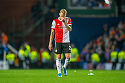 Rick Karsdorp (#27) of Feyenoord Rotterdam has his head in his hand after the final whistle of the Europa League match between Rangers FC and Feyenoord Rotterdam at Ibrox Stadium, Glasgow, Scotland on 19 September 2019.