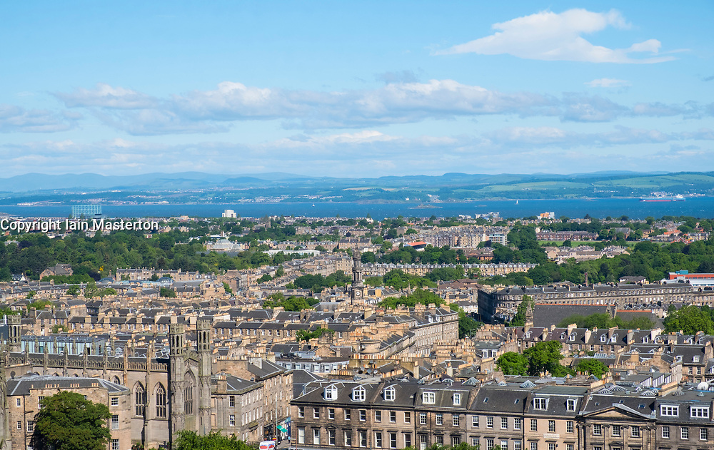 Skyline view of New Town of Edinburgh from Calton Hill, Scotland, United Kingdom.