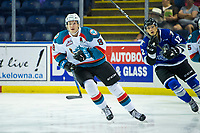 KELOWNA, CANADA - AUGUST 31: Jack Cowell #8 of the Kelowna Rockets skates against the Victoria Royals  on August 31, 2018 at Prospera Place in Kelowna, British Columbia, Canada.  (Photo by Marissa Baecker/Shoot the Breeze)  *** Local Caption ***
