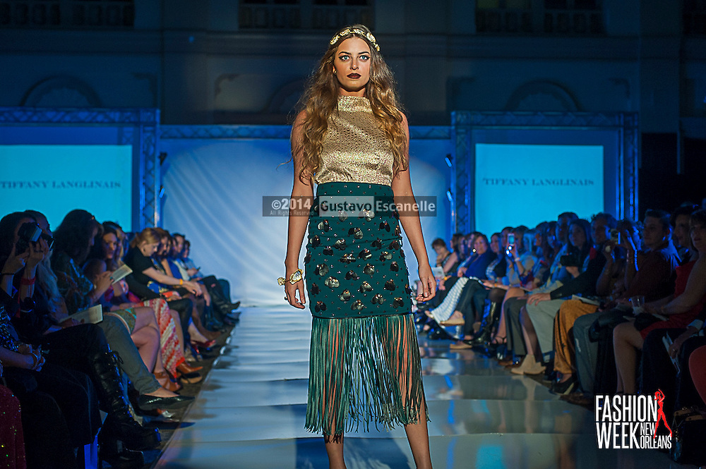 FASHION WEEK NEW ORLEANS: Designer Tiffany Langlinals show case her design on the runway at the Board of Trade, Fashion Week New Orleans on Wednesday March 19. 2014. #FWNOLA, #FashionWeekNOLA, #Design #FashionWeekNewOrleans, #NOLA, #Fashion #BoardofTrade, #GustavoEscanelle, #TraceeDundas , #romeyRoe, #DominiqueWhite . View more photos at <br /> http://Gustavo.photoshelter.com.