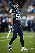 Tennessee Titans inside linebacker Wesley Woodyard (59) looks on during the week 14 regular season NFL football game against the Jacksonville Jaguars on Thursday, Dec. 6, 2018 in Nashville, Tenn. The Titans won the game 30-9. (©Paul Anthony Spinelli)
