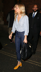 Actress Sienna Miller leaving the Apollo Theatre after her performance in Cat on a Hot Tin Roof. London, UK. 26/09/2017<br />BYLINE MUST READ : JAMESY/GOTCHA IMAGES<br /><br />Copyright by © Gotcha Images Ltd. All rights reserved.<br />Usage of this image is conditional upon the acceptance <br />of Gotcha Images Ltd, terms and conditions available at<br />www.gotchaimages.com