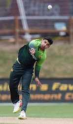 Pakistan's Shadab Khan bowls a delivery against New Zealand in the third one day cricket international at the University of Otago Oval, Dunedin, New Zealand, Saturday, January 13, 2018. Credit:SNPA / Adam Binns ** NO ARCHIVING**