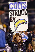 SAN DIEGO - JANUARY 03: A fan of the San Diego Chargers holds up a sign noting that the Indianapolis Colts were struck by lightning during the AFC Wild Card playoff game at Qualcomm Stadium on January 3, 2009 in San Diego, California. The Chargers defeated the Colts 23-17 in overtime. ©Paul Anthony Spinelli