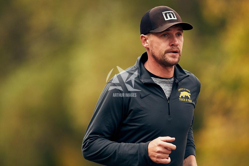 Track & Field Head Coach, Wade Huber during the Regina Cougars Cougar Trot on Sat Sep 15 at Wascana Park. Credit: Arthur Ward/Arthur Images
