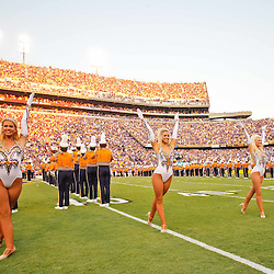 September 10, 2011; Baton Rouge, LA, USA;  The LSU Tigers golden girls dancers perform with the band prior to kickoff of a game against the Northwestern State Demons at Tiger Stadium.  LSU defeated Northwestern State 49-3. Mandatory Credit: Derick E. Hingle-US PRESSWIRE