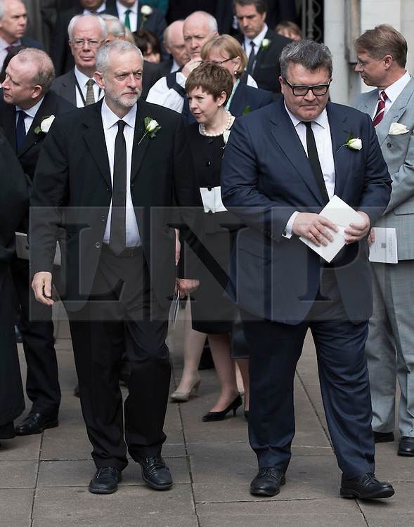 © Licensed to London News Pictures. 20/06/2016. London, UK. Labour Party Leader Jeremy Corbyn and Deputy Leader Tom Watson leave St Margaret's Church, Westminster Abbey after attending a Service of Prayer and Remembrance to commemorate Jo Cox MP, who was killed in her constituency on June 16, 2016. Photo credit: Peter Macdiarmid/LNP