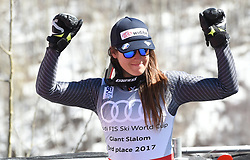 19.03.2017, Aspen, USA, FIS Weltcup Ski Alpin, Finale 2017, Riesenslalom, Damen, Siegerehrung, im Bild Sofia Goggia (ITA, 3. Platz Riesenslalom Weltcup) // third placed Giantslalom World cup Sofia Goggia of Italy during the winner presentation for the ladie's Giantslalom of 2017 FIS ski alpine world cup finals. Aspen, United Staates on 2017/03/19. EXPA Pictures © 2017, PhotoCredit: EXPA/ Erich Spiess