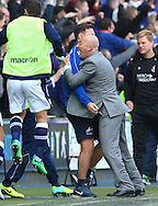 Ian Holloway , Manager of Millwall celebrates his team scoring the opening goal during the Sky Bet Championship match at The Den, London<br /> Picture by David Horn/Focus Images Ltd +44 7545 970036<br /> 03/05/2014