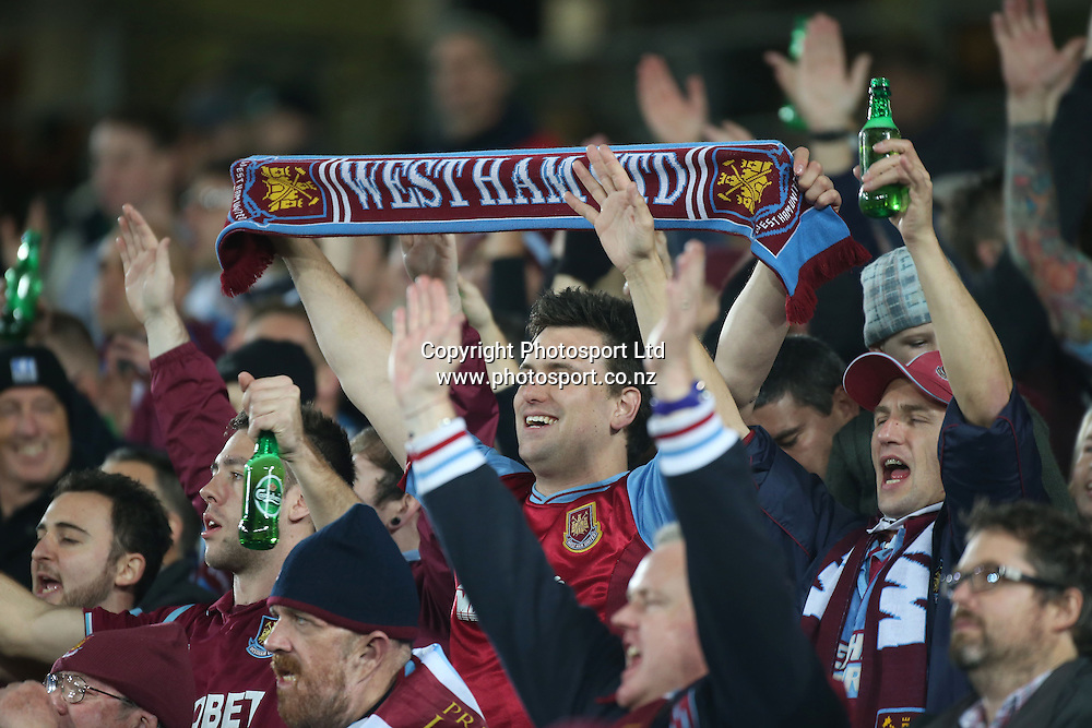 West Ham United fans during the Wellington Phoenix vs West Ham United football match played at Eden Park in Auckland on 23 July 2014. The Phoenix won the match 2-1. <br /> Credit; Peter Meecham/ www.photosport.co.nz