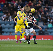 St Johnstone&rsquo;s Steven MacLean and Dundee&rsquo;s Julen Etxabeguren - Dundee v St Johnstone in the Ladbrokes Scottish Premiership at Dens Park, Dundee - Photo: David Young, <br /> <br />  - &copy; David Young - www.davidyoungphoto.co.uk - email: davidyoungphoto@gmail.com
