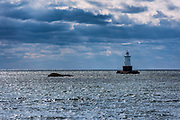 Sakonnet Light, 1884, sparkplug lighthouse, Little Compton, Rhode Island, USA.