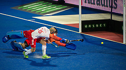 England's Nick Catlin beats Nicolas Jacobi in the German goal but sees his shot hit the post during the penalty shoot out. England v Germany - Semi-Final Unibet EuroHockey Championships, Lee Valley Hockey & Tennis Centre, London, UK on 27 August 2015. Photo: Simon Parker