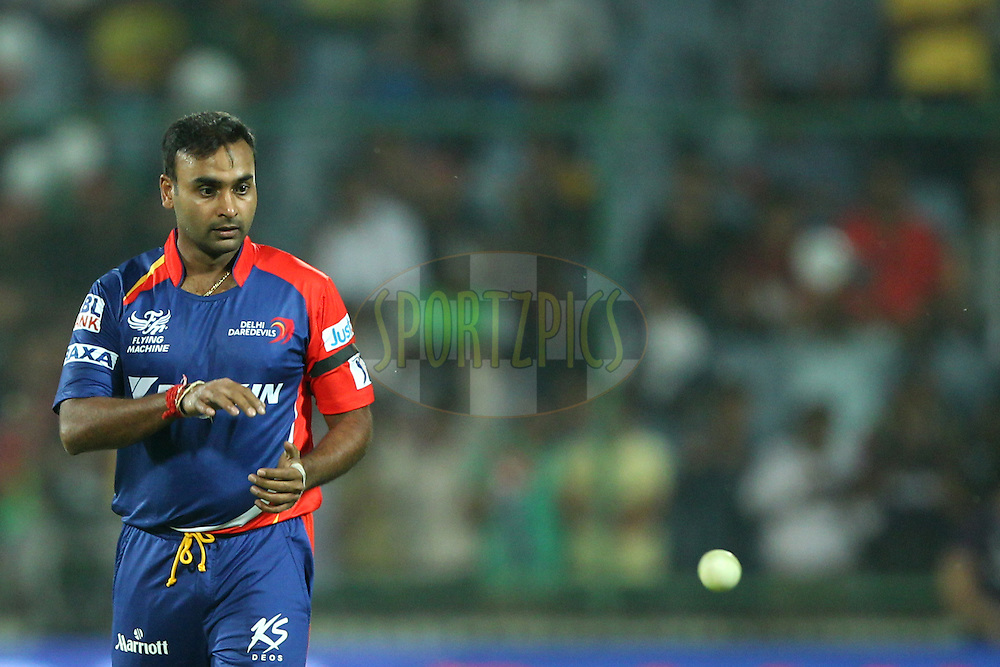 Amit Mishra of the Delhi Daredevils during match 17 of the Pepsi IPL 2015 (Indian Premier League) between The Delhi Daredevils and The Kolkata Knight Riders held at the Ferozeshah Kotla stadium in Delhi, India on the 20th April 2015.<br /> <br /> Photo by:  Deepak Malik / SPORTZPICS / IPL