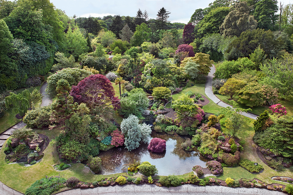 Aerial view of the Rock Garden at Mount Stuart, Isle of Bute, Argyll & Bute, Scotland.