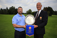 Eamon O'Connor Ulster Golf (R) present the winners pennant to Patrick Denning CO. Cavan Golf Club after the All Ireland Fourball Inter Club Ulster finals, Killymoon Golf Club, Cookstown, Tyrone, Northern Ireland. 25/08/2019.<br /> Picture Fran Caffrey / Golffile.ie<br /> <br /> All photo usage must carry mandatory copyright credit (© Golffile | Fran Caffrey)<br /> <br /> Team: Davy WHiteside, Alister McAlister, Moore Brown, Colm McKinney, Ian Henry, Trevor Hicks, Ray Irwin, David Willis, William Higgins and Phillip Dewes.