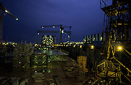 France. Saint Nazaire. Alsthom Atlantique.  shipyard in / Le chantier naval alstom atlantique , construction de paquebots