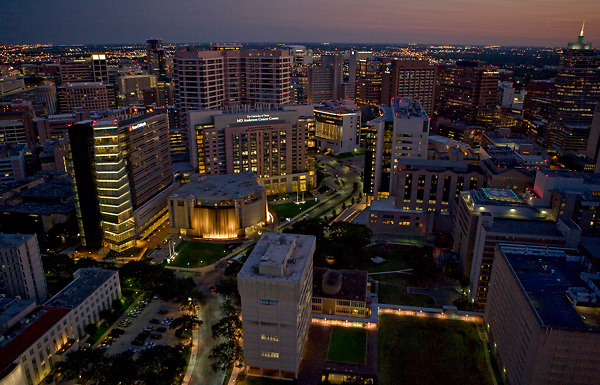 aerial night time view of texas medical center houston texas stockyard photos. Black Bedroom Furniture Sets. Home Design Ideas