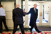 U.S. Sen. Jerry Moran (R-KS) was elected Chairman of the National Republican Senatorial Committee. Moran, right, gets a high five from National Republican Senatorial Committee Political Director Ward Baker at the Ronald Reagan Republican Center on Thursday, March 7, 2013.