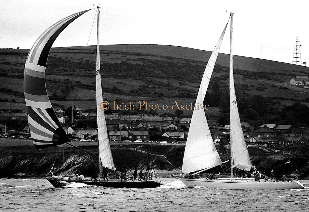 The Round Ireland Yacht Race is run every second year, starting in 1980. The course, starting from Wicklow Sailing Club, is simple: 'Leave Ireland and all its islands excluding Rockall to starboard.' The eventual winner was the yacht Lightning, in a time of just under 102 hours.<br /> 23 June 1984