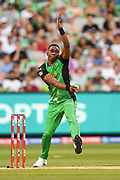 14th January 2019, Melbourne Cricket Ground, Melbourne, Australia; Australian Big Bash Cricket, Melbourne Stars versus Hobart Hurricanes;  Dwayne Bravo of the Melbourne Stars bowls the ball