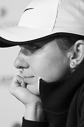 May 7, 2019 - Madrid, Spain - (EDITOR'S NOTE: Image was converted to black and white) Simona Halep  attends a press conference during day four of the Mutua Madrid Open at La Caja Magica on May 07, 2019 in Madrid, Spain  (Credit Image: © Oscar Gonzalez/NurPhoto via ZUMA Press)