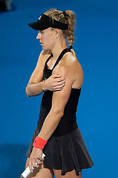 January 10, 2019 - Sydney, NSW, U.S. - SYDNEY, AUSTRALIA - JANUARY 10: Angelique Kerber (GER) holds her shoulder at The Sydney International Tennis in the match between Angelique Kerber (GER) and Petra Kvitova (CZE) on January 10, 2018, at Sydney Olympic Park Tennis Centre in Homebush, Australia. (Photo by Speed Media/Icon Sportswire) (Credit Image: © Steven Markham/Icon SMI via ZUMA Press)