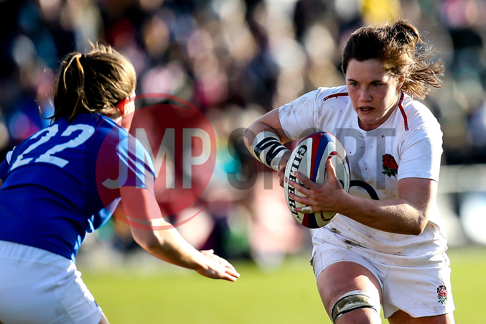 Poppy Leitch of England Women takes on Lauriane Lissar of France Women - Mandatory by-line: Robbie Stephenson/JMP - 10/02/2019 - RUGBY - Castle Park - Doncaster, England - England Women v France Women - Women's Six Nations