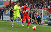 Reece Thompson & Matthew Bates during the Sky Bet League 2 match between York City and Hartlepool United at Bootham Crescent, York, England on 15 August 2015. Photo by Simon Davies.