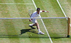 LONDON, ENGLAND - Friday, July 4, 2014: Novak Djokovic (SRB) ends up in the net during the Gentlemen's Singles Semi-Final match on day eleven of the Wimbledon Lawn Tennis Championships at the All England Lawn Tennis and Croquet Club. (Pic by David Rawcliffe/Propaganda)