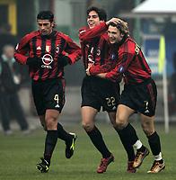 Milano 12-12-2004<br /> <br /> Campionato di calcio Serie A 2004-05<br /> <br /> Milan Fiorentina<br /> <br /> nella  foto Shevchenko esulta dopo il suo primo gol con Kaka e Kaladze (sx)<br /> <br /> Milan forward Andry Shevchenko celebrates his first goal with ricardo Kaka (Center) and Kaka Kaladze (L) <br /> <br /> Foto Snapshot / Graffiti
