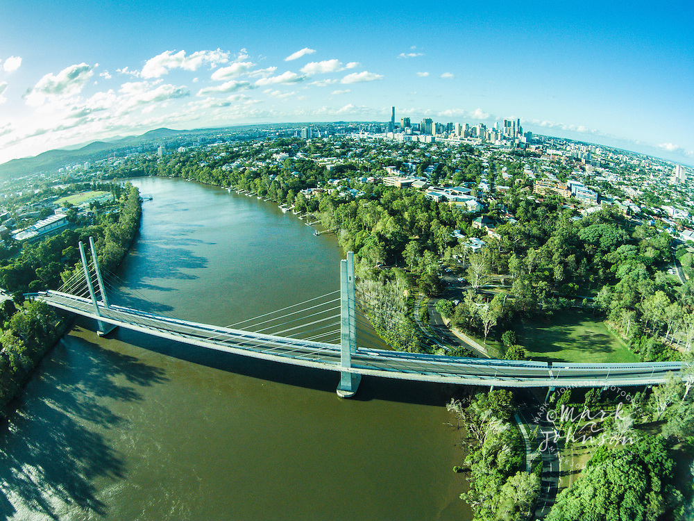 The Eleanor Schonell Bridge spans the Brisbane River between Dutton Park and the University of Queensland, Brisbane, Australia