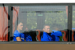 19 July 2017 -  Pre-Season Friendly - FC Twente v Everton - Wayne Rooney and Michael Keane of Everton peer from the window of the team bus as they arrive for the match - Photo: Marc Atkins / Offside.