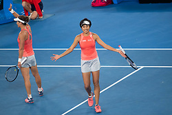 MELBOUREN, Jan. 24, 2019  Zhang Shuai (R) of China and Samantha Stosur of Australia celebrate after winning the women's doubles semifinal match against Barbora Strycova and Marketa Vondrousova of the Czech Republic at 2019 Australian Open in Melbourne, Australia, Jan. 23, 2019. Zhang Shuai and Samantha Stosur won 2-1. (Credit Image: © Elizabeth Xue Bai/Xinhua via ZUMA Wire)