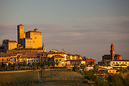 An 11th century castle dominates the hill above the village of Serralunga in the Piedmonte region of Italy.