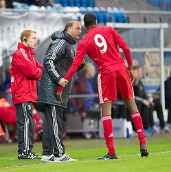 MOLDE, NORWAY - Wednesday, September 7, 2011: Liverpool's reserve team head coach Rodolfo Borrell talks to Michael Ngoo during the second NextGen Series Group 2 match against Molde at Aker Stadion. (Photo by Vegard Grott/Propaganda)