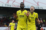 Mohamed Eisa celebrates his goal with Harry Pell during the EFL Sky Bet League 2 match between Crawley Town and Cheltenham Town at the Checkatrade.com Stadium, Crawley, England on 24 March 2018. Picture by Antony Thompson.
