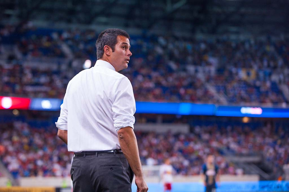 HARRISON, NJ - AUGUST 17:  Head Coach Mike Petke of the New York Red Bulls looks on during the game against the Philadelphia Union at Red Bulls Arena on August 17, 2013. (Photo By: Rob Tringali)