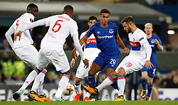 Everton's Dominic Calvert-Lewin (centre) battles with Olympique Lyonnais' Mouctar Diakhaby (left), Marcelo (centre) and Lucas Tousart (right)