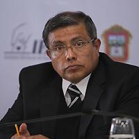 Toluca, Mexico.- Jesus Castillo Sandoval, consejero presidente del IEEM durante la tercera reunion oficial de la mesa politica con el gobierno del estado y se firmo El Acuerdo de Blindaje Electoral, que contempla 10 acuerdos especificos. Agencia MVT / Crisanta Espinosa. (DIGITAL)