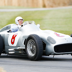 Sir Stirling Moss driving up the Hill in a Merceds-Benz 300 SLR at the Goodwood Festival of Speed, June the 27th. © Sam Todd | SportPix.org.uk
