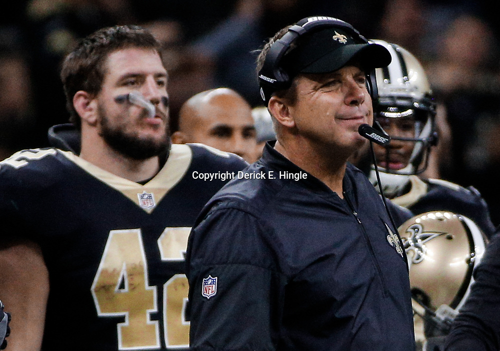 Dec 17, 2017; New Orleans, LA, USA; New Orleans Saints head coach Sean Payton reacts after officials change a call during the second quarter against the New York Jets at the Mercedes-Benz Superdome. Mandatory Credit: Derick E. Hingle-USA TODAY Sports