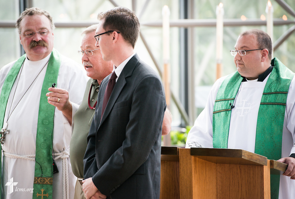 Matthew Bergholt, coordinator in Online Support and Services of LCMS School Ministry, is introduced by Terry Schmidt, director of LCMS School Ministry, during a Service of Installation in the International Center chapel of The Lutheran Church–Missouri Synod on Wednesday, Sept. 3, 2014, in Kirkwood, Mo. LCMS Communications/Erik M. Lunsford